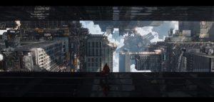 現実か幻か、空中都市となったマンハッタン。万華鏡のような映像美は、『インセプション』を彷彿とさせる