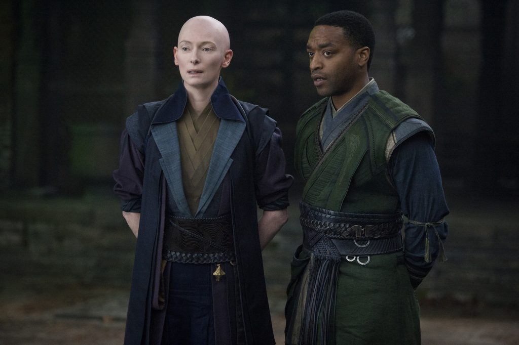 Marvel's DOCTOR STRANGE..L to R: The Ancient One (Tilda Swinton) and Mordo (Chiwetel Ejiofor)..Photo Credit: Jay Maidment..©2016 Marvel. All Rights Reserved.